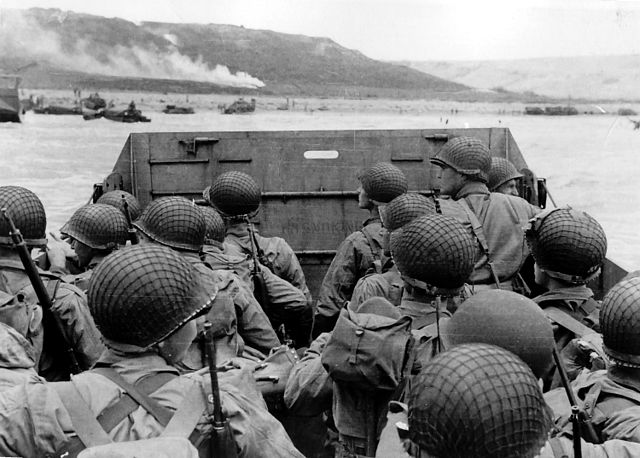 Allied forces approach Omaha Beach on D-Day, June 6, 1944.